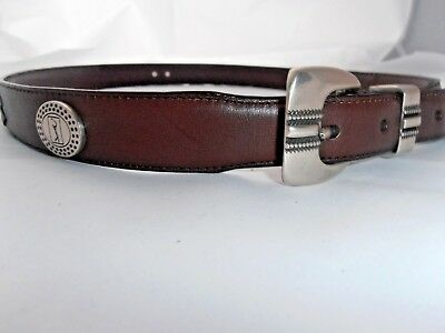Studded Woven Belt (Mens PGA TOUR brown silver full grain woven studded Leather Belt Size 42  )