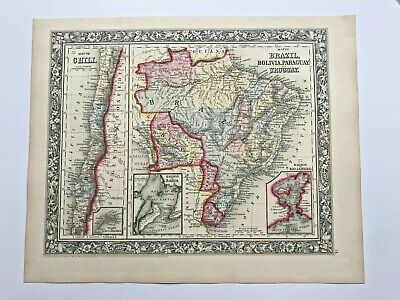 BRAZIL BOLIVIA PARAGUAY URUGUAY CHILE 1860 MITCHELL LARGE ANTIQUE MAP