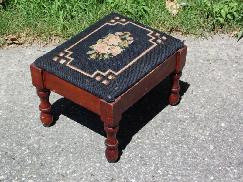 Vintage Black Floral Needlepoint Solid Wood Footstool Ottoman Stool