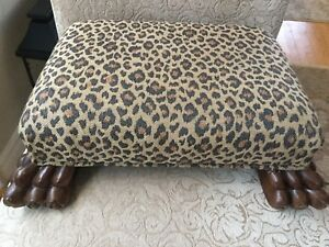 Vintage Hickory Chair Wood Carved Claw Foot Stool