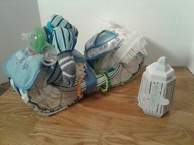 Motorcycle Diaper Cake Boy Centerpiece Baby Shower Gift Blue Baseball