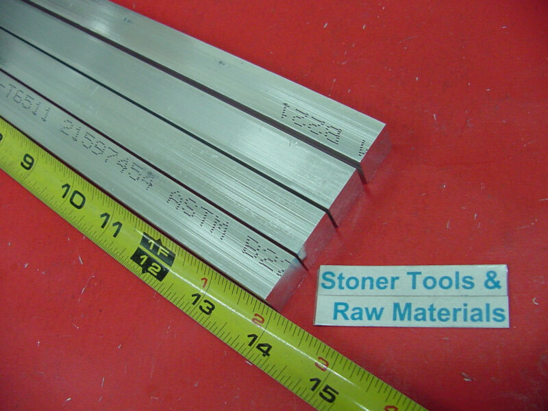"4 Pieces 3/4"" X 3/4"" ALUMINUM 6061 SQUARE FLAT BAR 14"" long T6511 New Mill Stock"