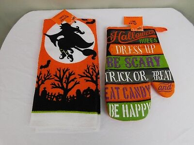 Halloween Rules Party Decor Witch Printed Kitchen Towel & Oven Mitt Set #7353