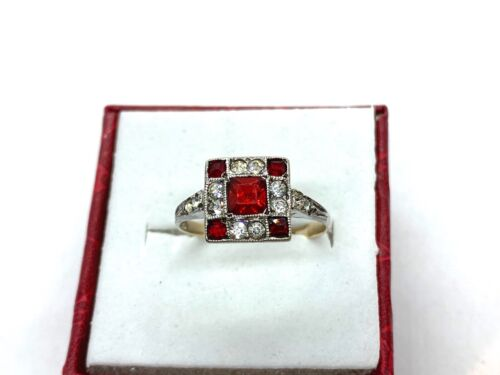 Antique Art Deco Sterling Silver & 9CT Gold Ruby & Diamond Paste Ring Size M1/2