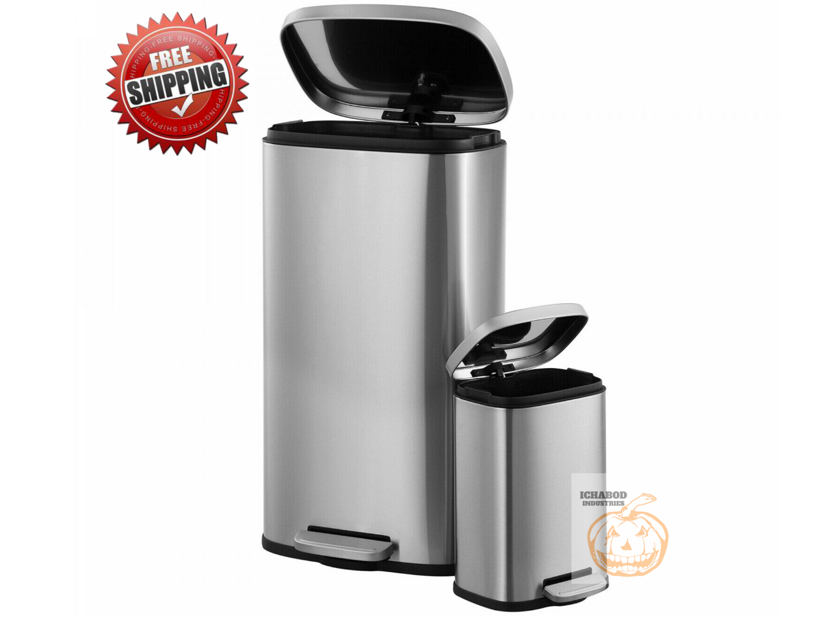 2 Pack Stainless Steel Trash Cans, 30L and 5L, 13 Gallon Kit