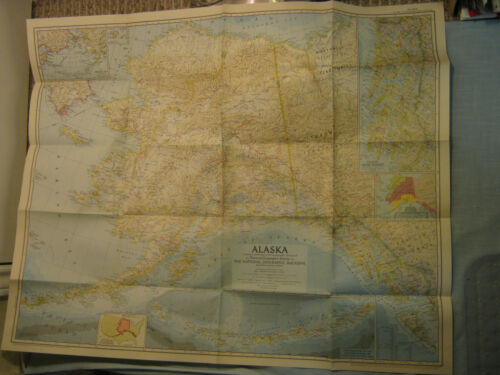 VINTAGE ALASKA MAP National Geographic June 1956