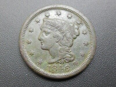 1846 braided hair large cent, free shipping.