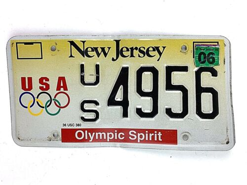 New Jersey Olympic Spirit License Plate Specialty Vtg Car Tag Man Cave Garage
