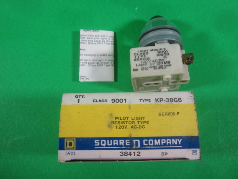 Square D Pilot Light Resistor Type 120V AC-DC -- KP-38G6 -- New