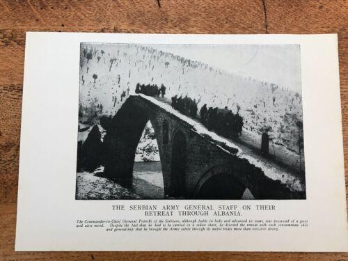 original 1918 print .serbian army general staff on their retreat through albania