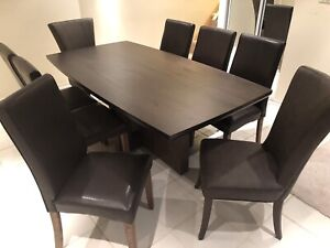 Modern dining table and 8 chairs