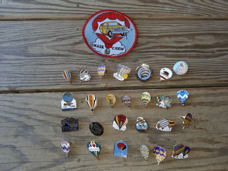 Vintage Upstate New York 80s Festival Hot Air Balloon Pin & Patch Lot of 28 Pins