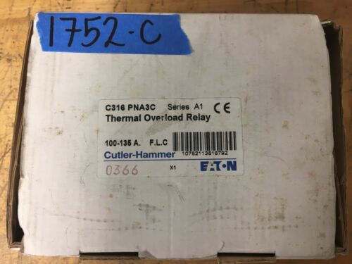 NEW Cutler Hammer Eaton C316-PNA3C series A1 Thermal Overload Relay 100-135A