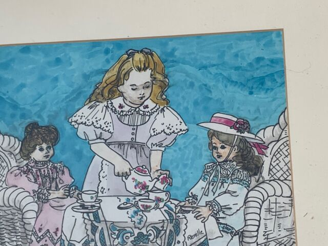 RARE Framed ORIGINAL ART Signed French Victorian Tea Party Girl & Dolls ❤️sj3j