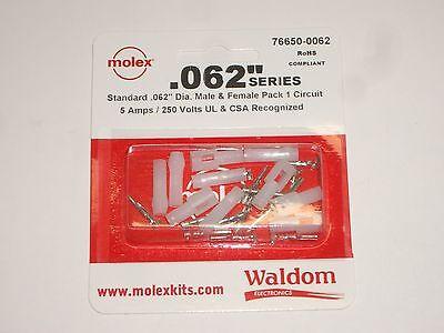 Molex 76650-0062 .062 1 Circuit Power Plug Receptacle Socket Set Of 5 W Pins