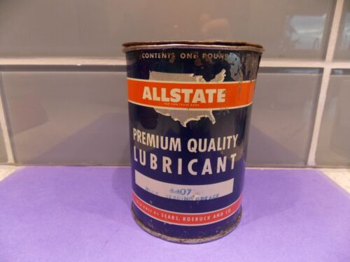 VINTAGE Allstate1 POUND CAN original lid wheel bearing grease. Sears.
