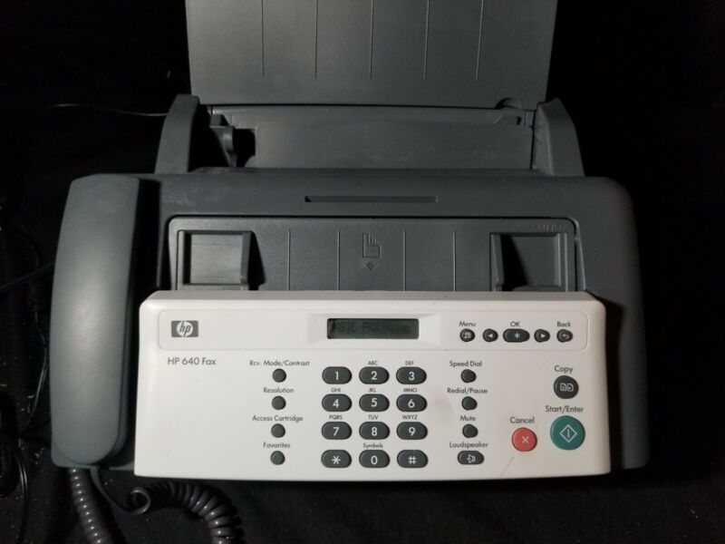 HP 640 Fax Machine Inkjet grey and white with phone, copier, scanner
