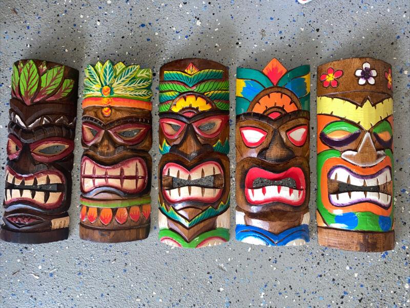 "SET OF 5 12"" TIKI MASK HAWAIIAN WALL ART ISLAND HOME DECOR BAR TROPICAL"