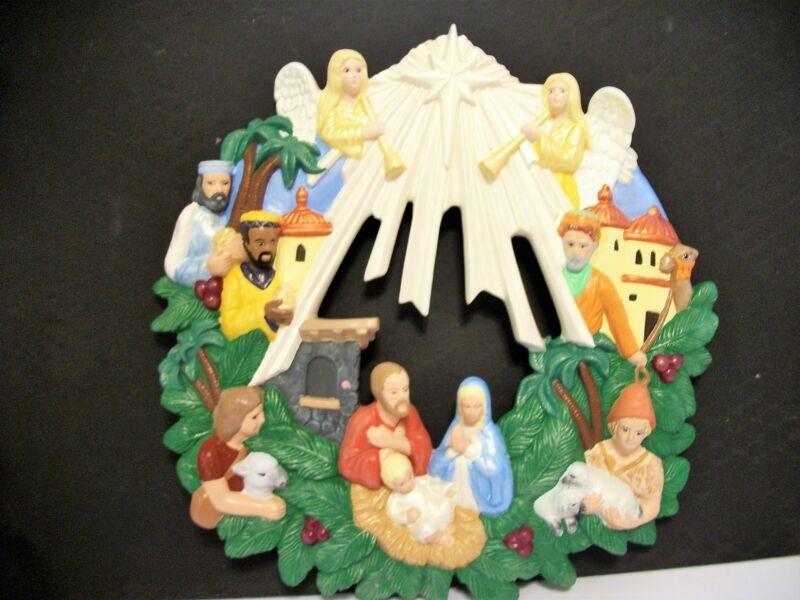 Ceramic Nativity Wreath Christmas Christian Angels Wisemen Jesus Mary Joseph