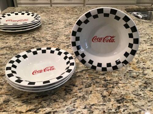 Vintage ~ Set of 4 ~ 1998 Gibson Coca Cola Checkered Ceramic Salad Soup Bowls !!