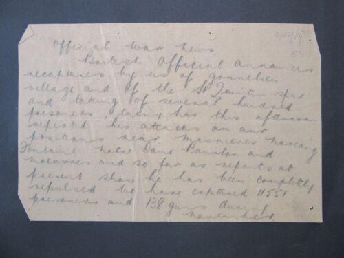 1917 WW1 Telegraph Bulletin Dec.2 Prisoners & Guns captured In France f3-36