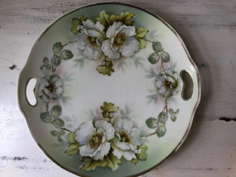 Antique ES Prussia Vintage FloralTidbit Cookie Cake Plate Pierced Handles