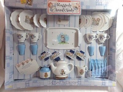 Vintage Raggedy Ann and Andy Deluxe Dish - Set 2002 Deluxe Tea Party Tootsietoy