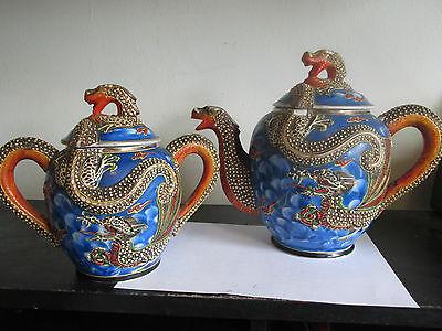 Vintage SATSUMA Moriage Blue Gold Gilded JAPANESE JAPAN DRAGON Teapot & Sugar