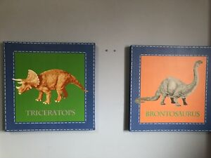 Pottery Barn Dinosaur decorations and art for kid's room