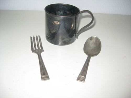 Antique 1881 Rogers Silver Plated Baby Cup + Fork & Spoon Set (NO MONOGRAMS)