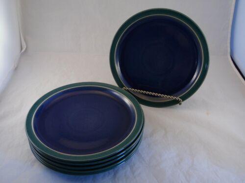 DENBY ENGLAND HARLEQUIN Set 6 Blue Salad Luncheon Plates Blue Green Rim