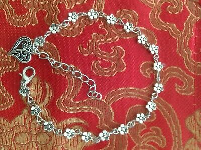 - Silver Anklet (plum blossom beads and heart design pendant) 9