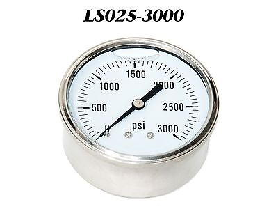 New Hydraulic Liquid Filled Pressure Gauge 0-3000 Psi 14 Npt Center Back Mount