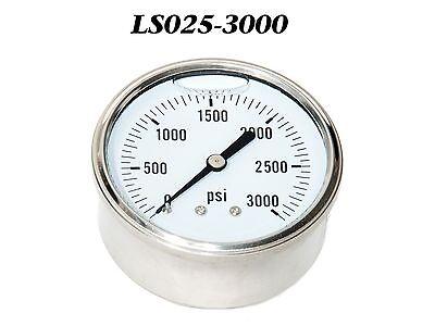 New Hydraulic Liquid Filled Pressure Gauge 0-3000 Psi 14 Npt Cbm 2.5 Face