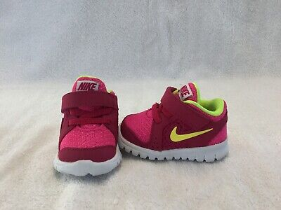 Nike Flex Experience Infant Baby Girls Pink/yellow Shoes--size 2 C
