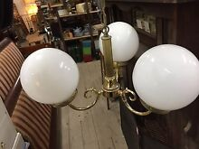 Vintage brass white milk glass shades light fitting lighting ceiling Queenstown Port Adelaide Area Preview