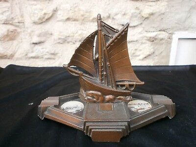 French vintage ashtray, Ship, Boat, Spelter, Toulon, Metal, Art Deco style,