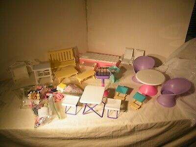 1980'S AND 1990'S MATTEL BARBIE DOLL FURNITURE ACCESSORIES LOT BED PATIO BENCHES