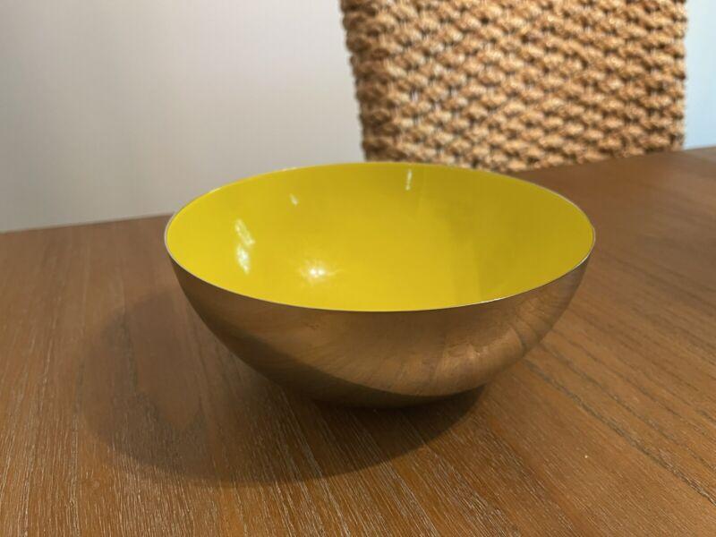 "Vintage Catherineholm Norway Yellow Enamel Stainless Steel 7"" Bowl"