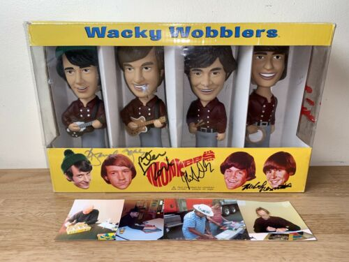 AUTOGRAPHED BY ALL 4 OF THE MONKEES - SIGNED FUNKO BOBBLEHEADS WACKY WOBBLERS!