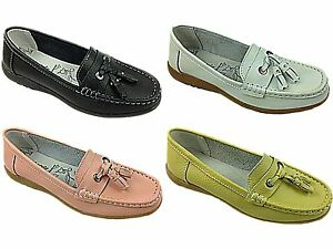 Ladies-New-Real-Leather-Tassel-Slip-On-Wider-fitting-Loafer-Moccasin-Shoes-Size