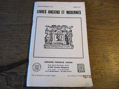 Bulletin Livres Anciens et Modernes N°80 Janvier 1977