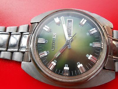 RARE VINTAGE GREEN CITIZEN 21J AUTOMATIC GENTS MENS WRIST WATCH