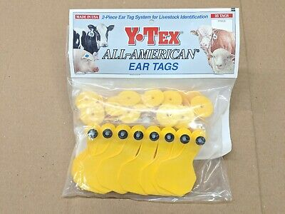Y-tex 2 Star 2-piece Livestock Ear Tags Pig Hog Sheep Goat 25 Pack Yellow Blank