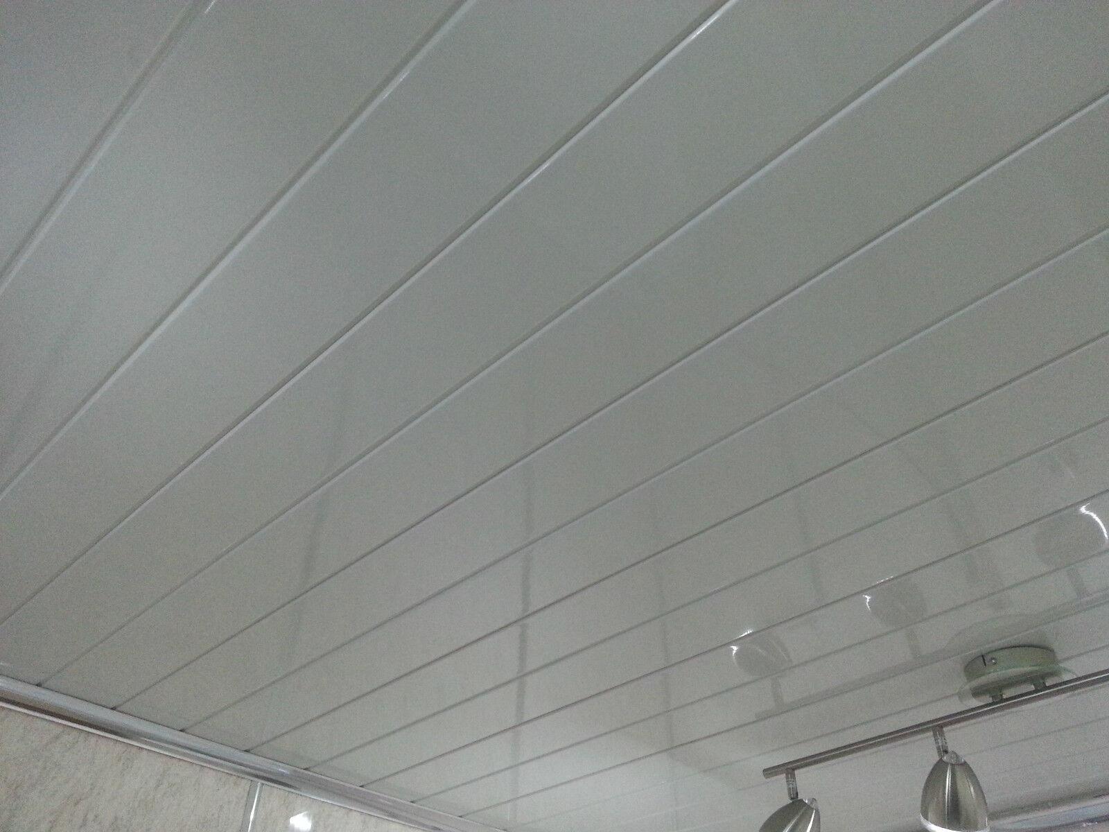 Plastic bathroom ceiling cladding - 12 X Twin White V Groove Ceiling Panels Pvc Bathroom