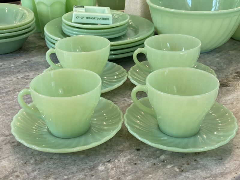 4 Fire King Jadeite Green Mid-Century Shell Swirl Pattern Cups & Saucers Sets