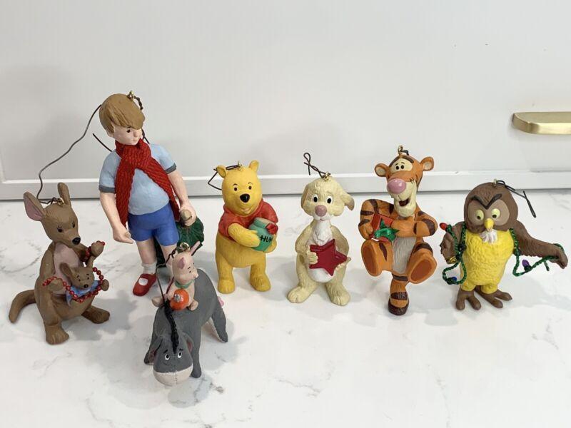 Complete Set of 7 1991 Disney Hallmark Keepsake Ornaments Winnie The Pooh Eeyore