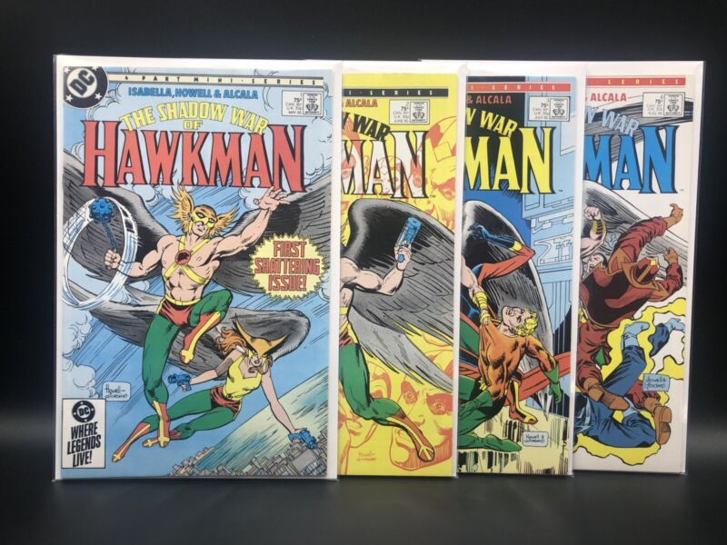 """HAWKMAN """"THE SHADOW WAR"""" #'s 1-4 DC COMPLETE MINI SERIES ISABELLA HOWELL 1985"""
