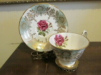 Paragon England Cup And Saucer Light Green Red Cabbage Roses Gold for sale  Yonkers