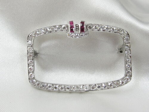 Art Deco Brooch Antique Pin 1.50ctw Single Diamond Ruby 14K White Gold Ca. 1909